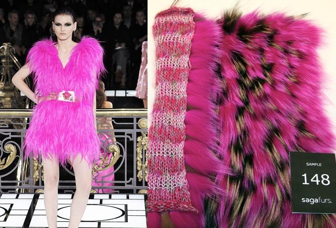 Розовый жилет из песца от Versace